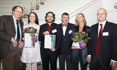 ÖGEKM Journalistenpreis 2009: Die Gewinnerinnen stehen fest - im Bild v.l.n.r. Univ.Prof.Dr. Harald Dobnig (Präsident ÖGEKM), Sabine Fisch (Journalistenpreis 2009, Kategorie TV/Hörfunk), Enrico Dall'Ara (Posterpreisgewinner 2009), Prim.Univ.Prof.Dr. Hans Bröll (wissenschaftlicher Leiter Herbsttagung ÖGEKM), Dr. Christine Dominkus (Journalistenpreis 2009, Kategorie Print/Online-Journalismus) und Univ.Prof.Dr. Peter Pietschmann (wissenschaftlicher Leiter Herbsttagung ÖGEKM)